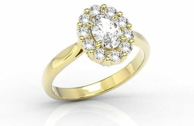 Pierścionek zaręczynowy z białym topazem swarovski i diamentami bp-57z