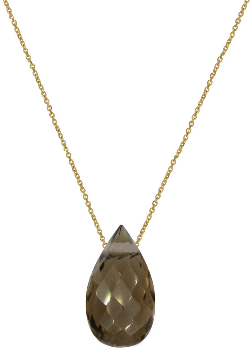 Złoty naszyjnik 375 łańcuszek ankier z łezką Kwarc dymny