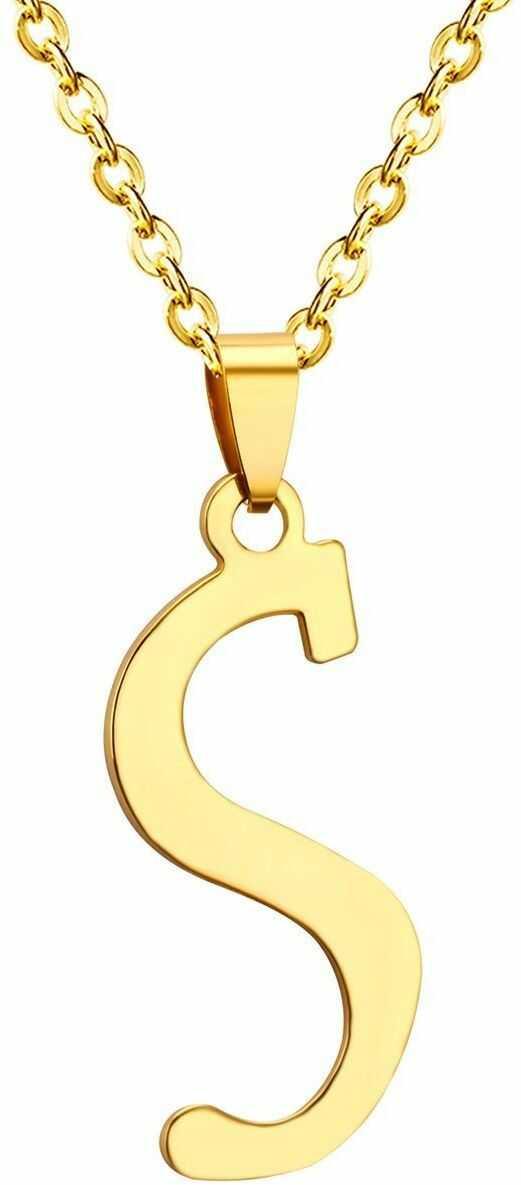 Naszyjnik litera s stal szlachetna złoty