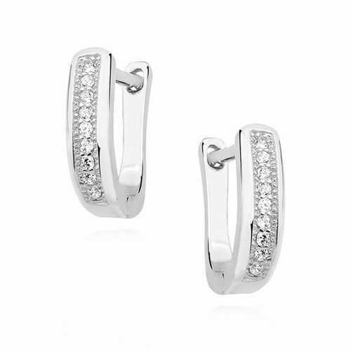 Eleganckie rodowane srebrne kolczyki z cyrkoniami srebro 925 Z1442E