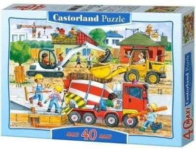 Puzzle Castor 40 MAX - Na budowie, Construction Site