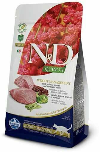 Farmina N&D Quinoa Weight Management Lamb & Broccoli Adult Cat - karma z komosą i jagnięciną dla dorosłych kotów