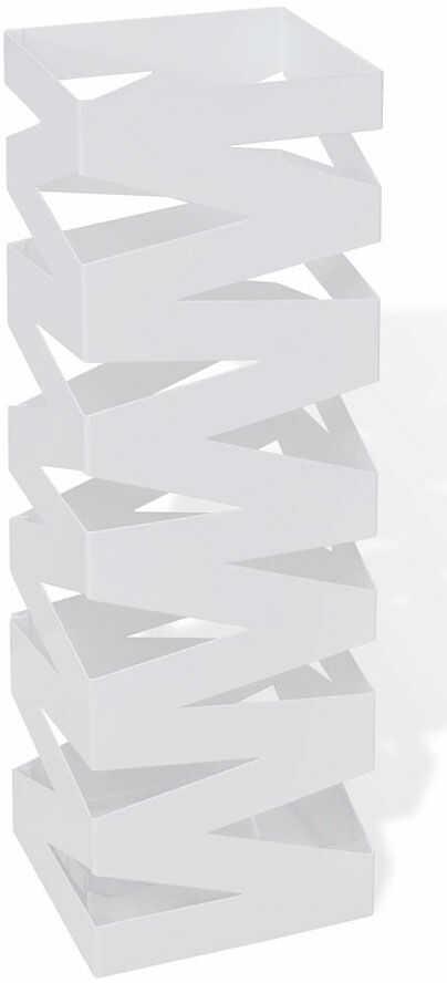 Biały modernistyczny metalowy parasolnik - Nauro 3S