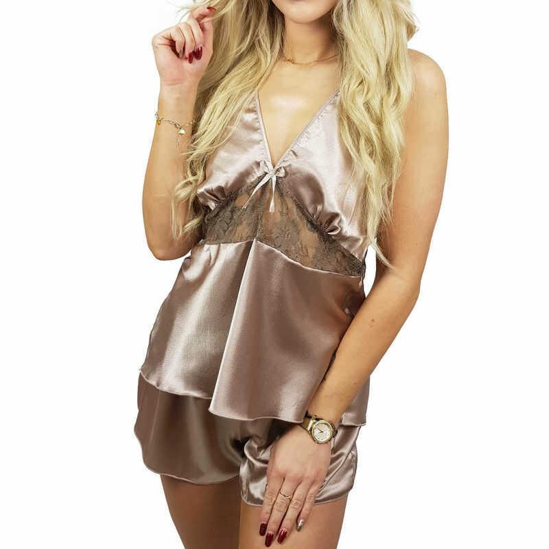 Piżama damska satyna koronka SIDNEY beż Beauty Senses BS001245