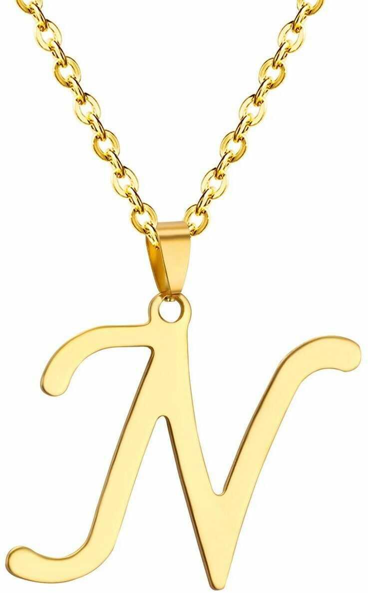 Naszyjnik litera n stal szlachetna złoty