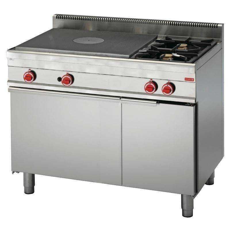 Kuchnia gazowa 2 palnikowa z płytą grzewczą i piekarnikiem gaz. 21800W