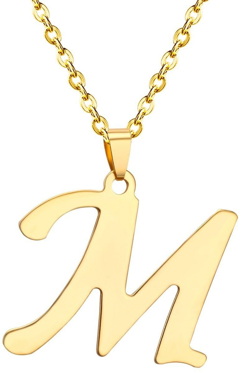 Naszyjnik litera m stal szlachetna złoty