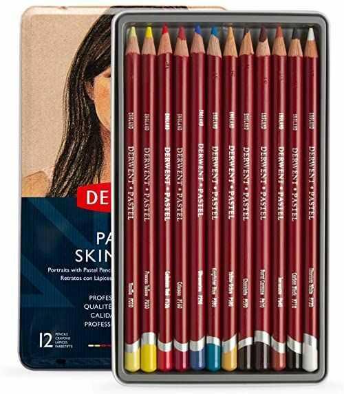 Derwent, 12 Cielistych Kredek Pastelowych Derwent Pastel Skintones do Rysowania Portretów i Blendowania, Metalowe Pudełko (2300563)
