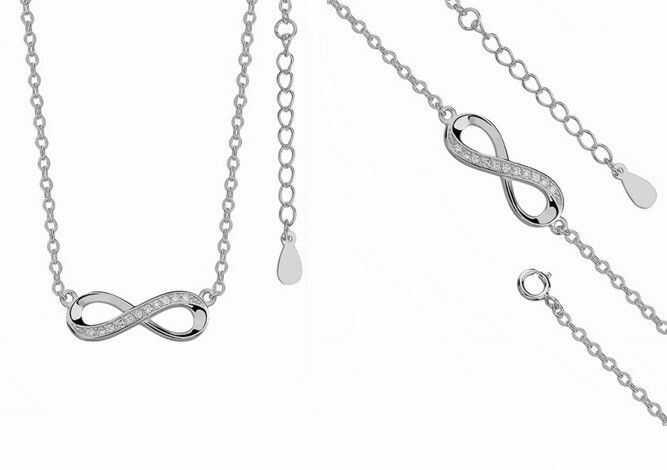 Elegancki rodowany srebrny komplet celebrytka nieskończoność infinity cyrkonie srebro 925 Z0791Z