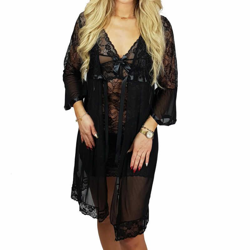 Ekskluzywny komplet DINA koszula + szlafrok czarny Beauty Senses BS001248