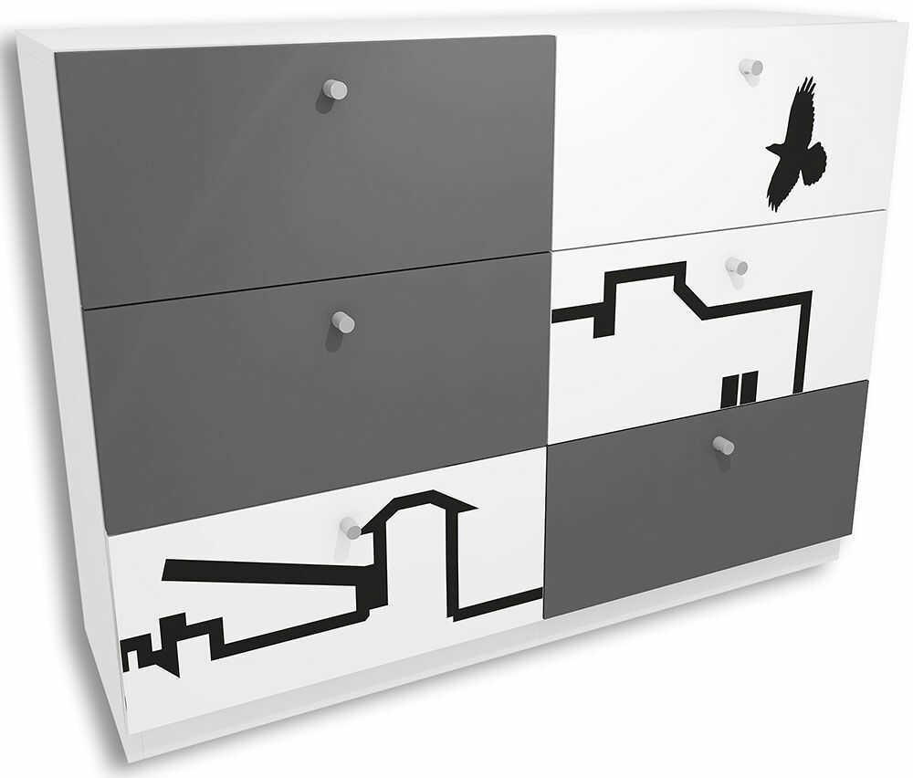 Biało-grafitowa komoda młodzieżowa z szufladami Timi 6X - 5 kolorów