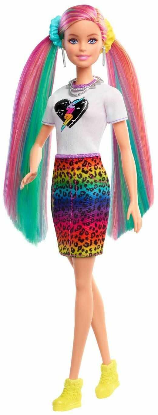 Barbie Lalka Kolorowe włosy panterka GRN81