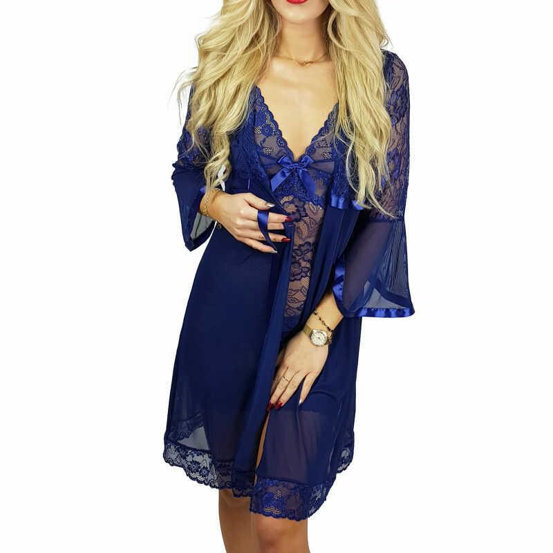 Ekskluzywny komplet DINA koszula + szlafrok niebieski Beauty Senses BS001248