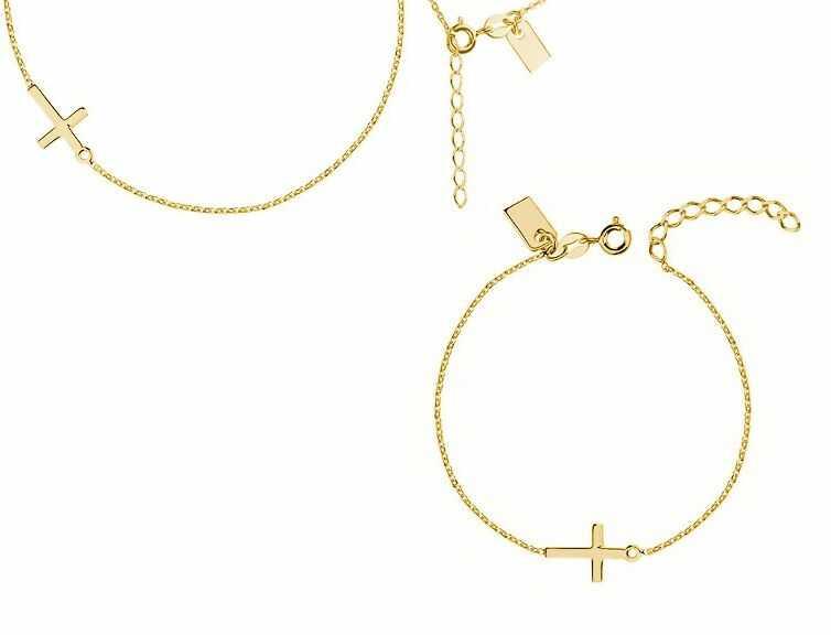 Delikatny pozłacany srebrny komplet celebrytka gładki krzyżyk krzyż cross połysk srebro 925 R0105Z_G