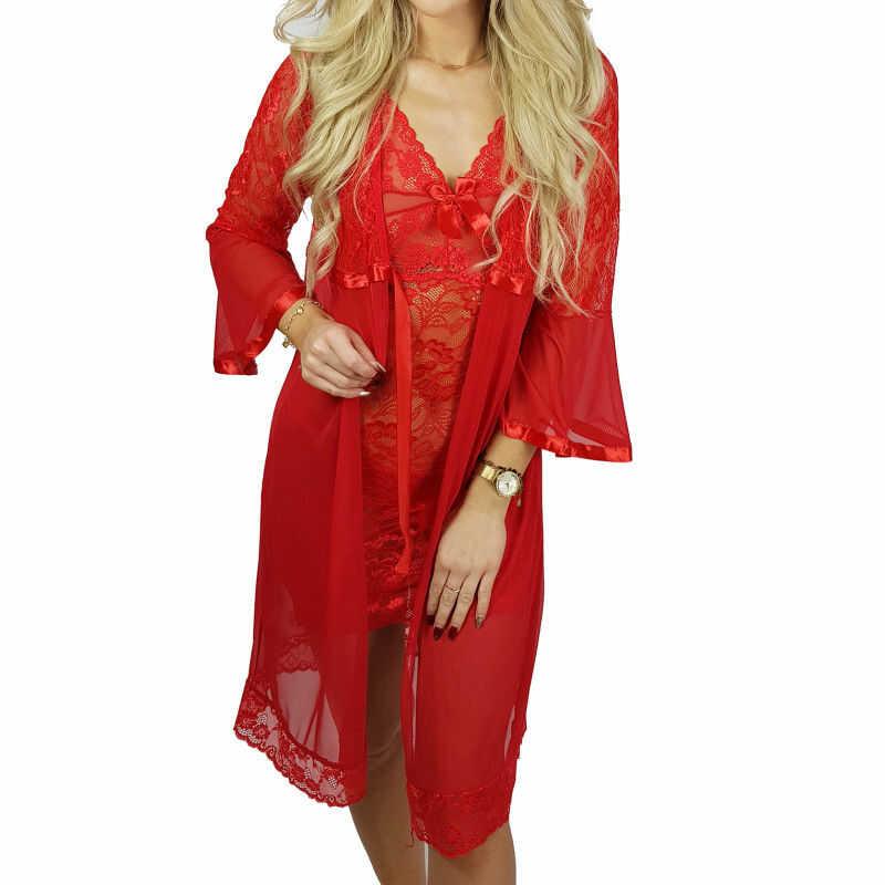 Ekskluzywny komplet DINA koszula + szlafrok czerwony Beauty Senses BS001249