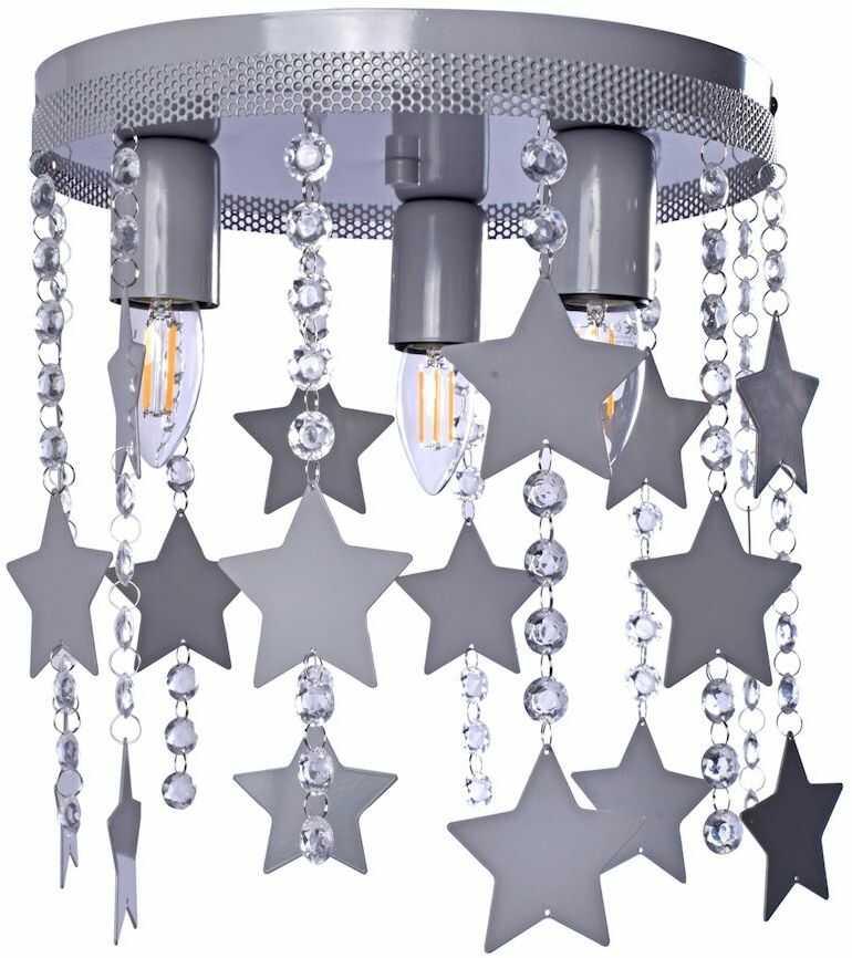 Milagro STAR MLP1130 plafon lampa sufitowa metal szary kryształki gwiazdki 3xE27 30cm