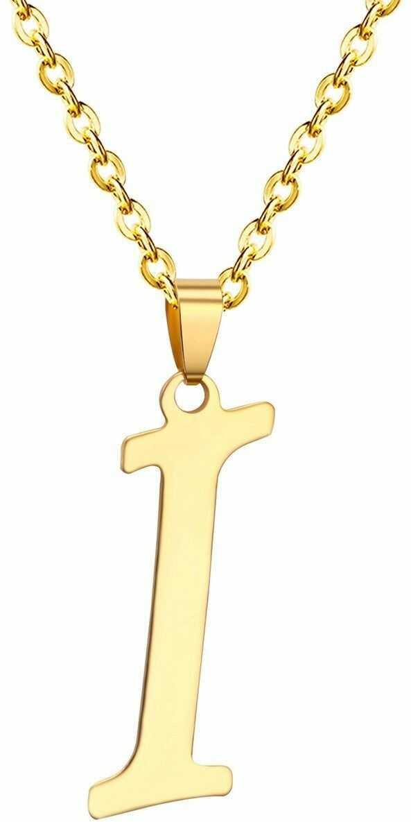 Naszyjnik litera i stal szlachetna złoty