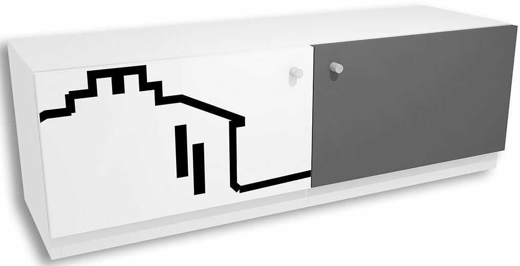 Biało-grafitowa komoda młodzieżowa z nadrukiem Timi 7X - 5 kolorów