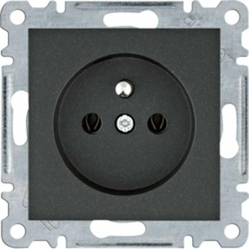 Lumina Gniazdo zasilające z uziemieniem 16A/250VAC czarne WL1023