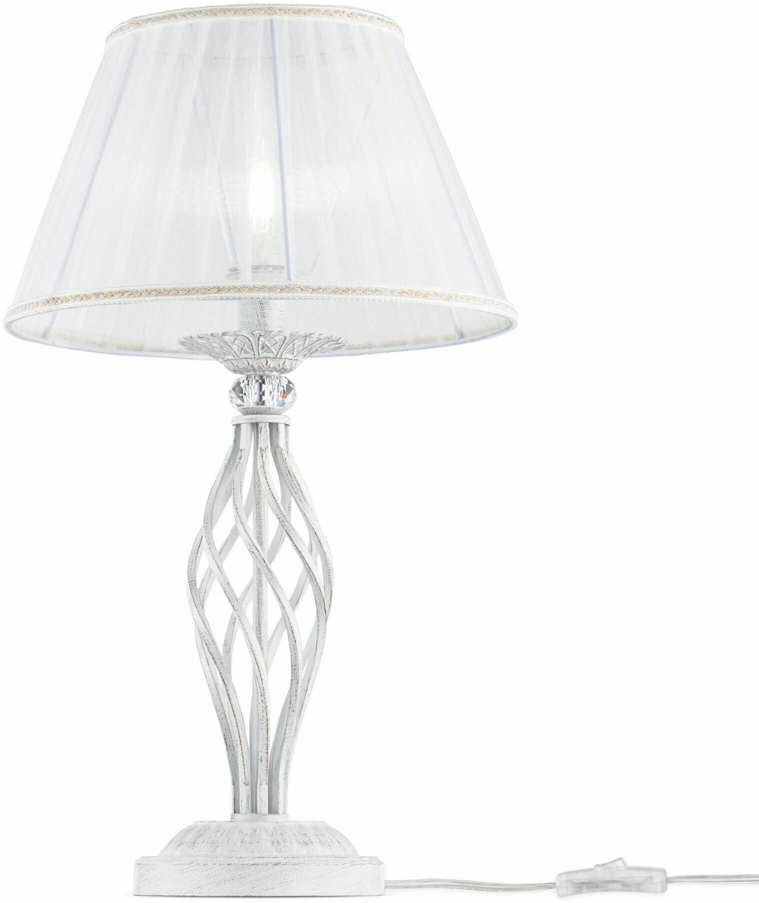 Maytoni Grace ARM247-00-G lampa stołowa metal biała ze złotym plisowany abażur biały z tkaniny kryształki 1xE14 40W