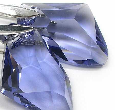 Kryształy kolczyki SREBRO TANZANIT CERTYFIKAT