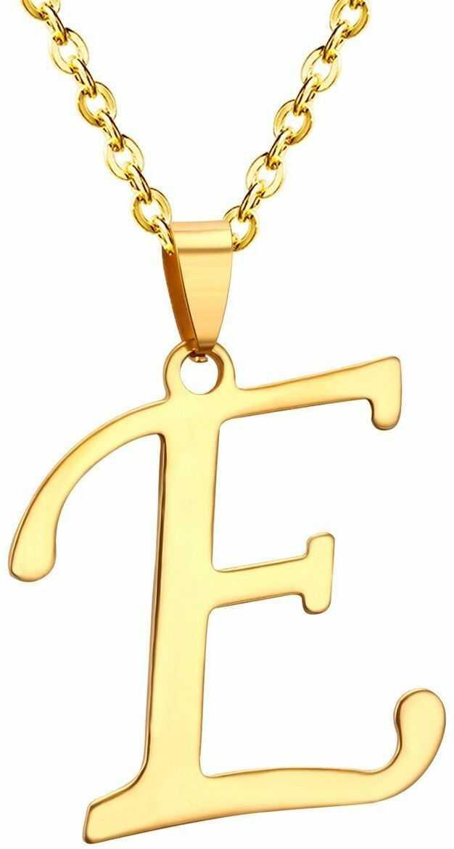 Naszyjnik litera e stal szlachetna złoty
