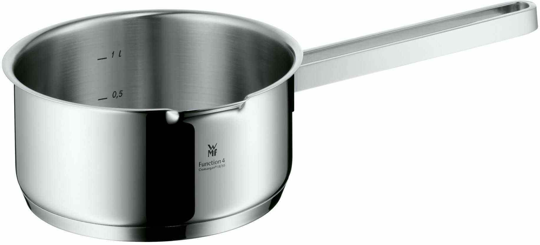 WMF Function 4 rondel bez pokrywki 16 cm, garnek do gotowania 1,4 l, garnek do mleka ze stali szlachetnej Cromargan, 4 funkcje odcedzania, garnek indukcyjny czerwony, wewnętrzna skala pomiarowa