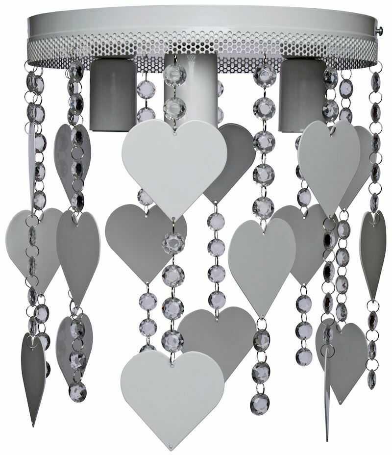 Milagro CORAZON MLP1151 plafon lampa sufitowa metal szary kryształki serca 3xE27 35cm