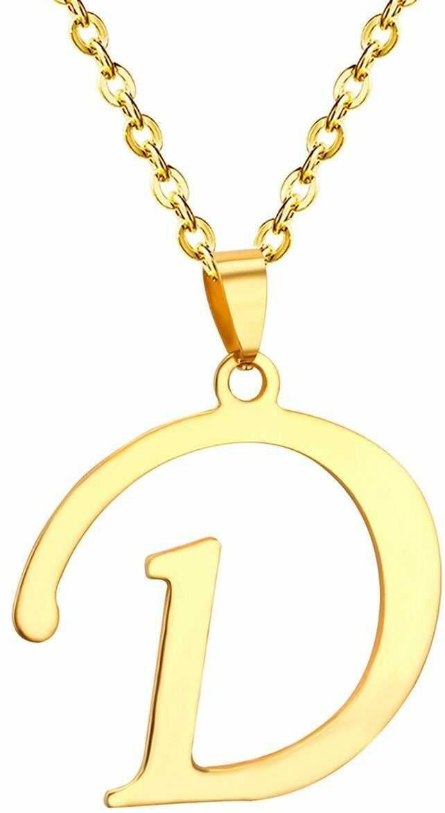 Naszyjnik litera d stal szlachetna złoty