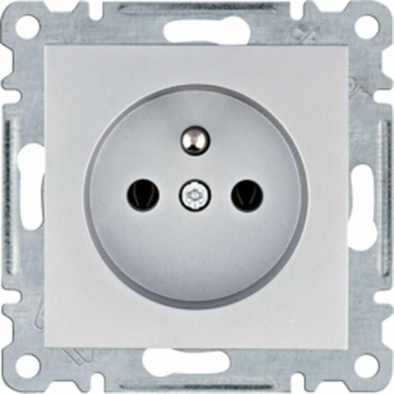 Lumina Gniazdo zasilające z uziemieniem 16A/250VAC srebrne WL1022