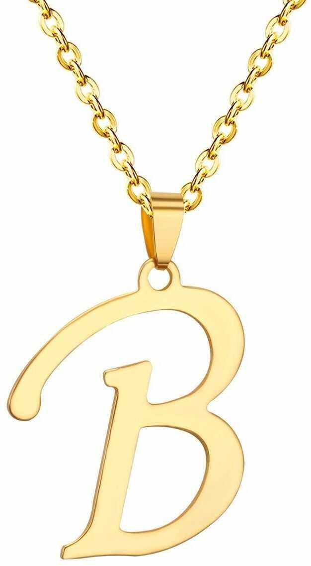 Naszyjnik litera b stal szlachetna złoty