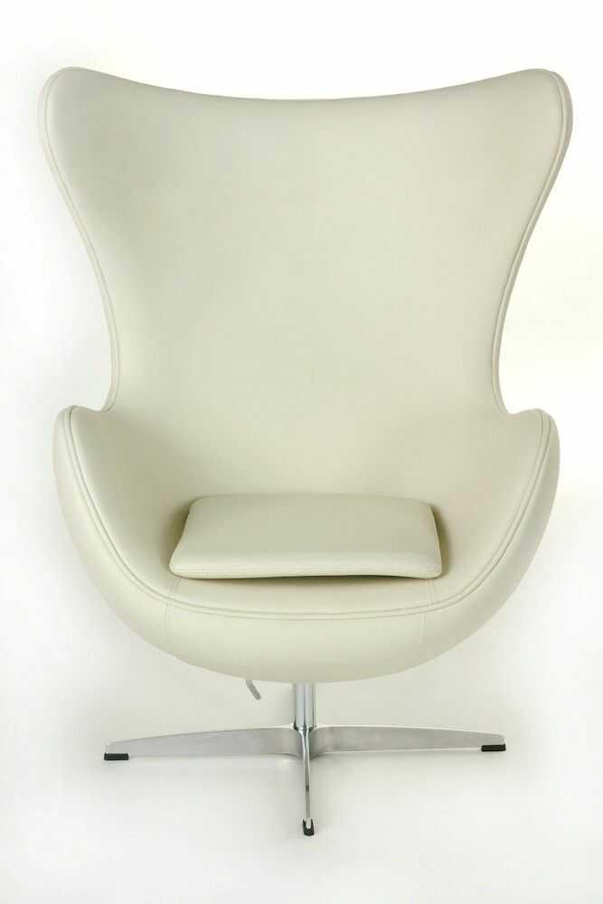 D2 Fotel Jajo biała skóra #01