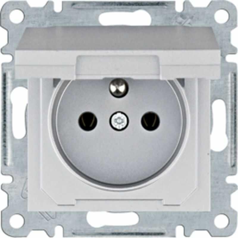 Lumina Gniazdo zasilające z uziemieniem i pokrywą 16 A/250 VAC srebrne WL1122
