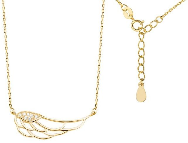 Pozłacany srebrny naszyjnik gwiazd celebrytka skrzydło anioła wings cyrkonie srebro 925 Z1438N_G