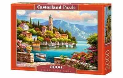 Puzzle Castorland 2000 - Miasteczko z wieżą zegarową, Village Clock Tower