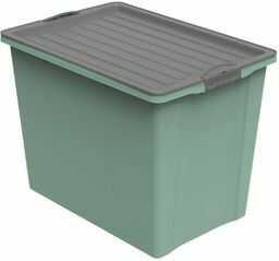 Rotho, Kompaktowe pudełko do przechowywania z pokrywką i kółkami, 70 l, tworzywo sztuczne (polipropylen), nie zawiera BPA, zielony/antracytowy, A3/70 l (57,0 x 39,5 x 43,5 cm)