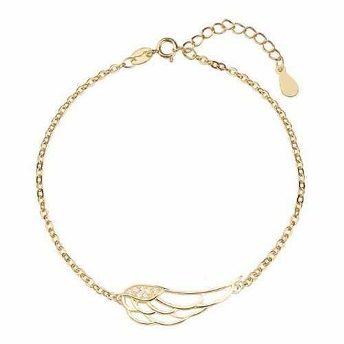 Pozłacana srebrna bransoletka szczęścia gwiazd celebrytka skrzydło anioła cyrkonie srebro 925 Z1438B_G