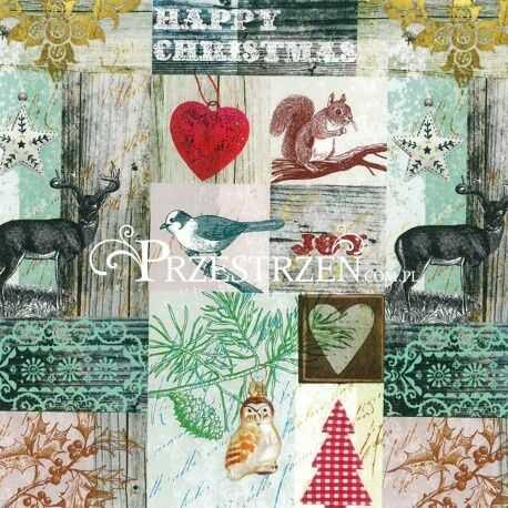 SERWETKI PAPIEROWE - Happy Christmas - Świąteczny Collage ze zwierzętami
