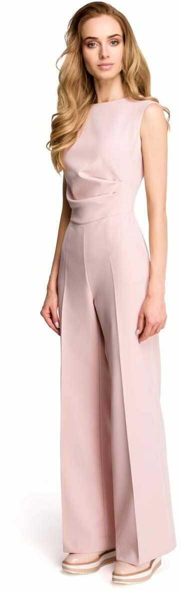 Elegancki kombinezon z szerokimi nogawkami - pudrowy