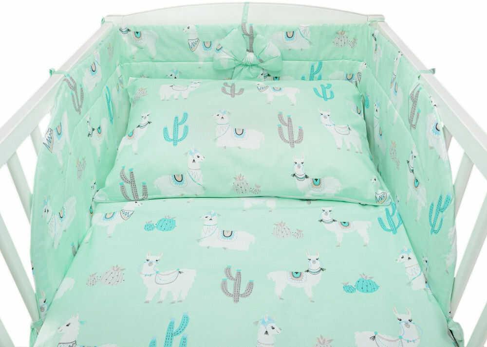 Zielona pościel do łóżeczka z motywem w lamy - bawełniana 100%