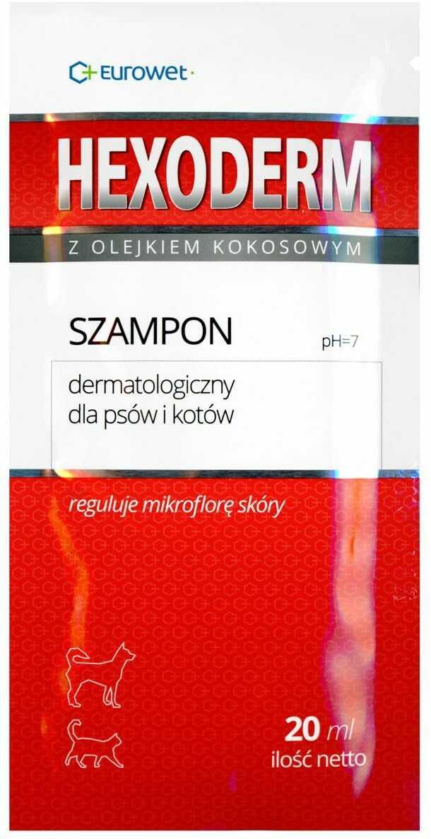 Eurowet Hexoderm 20 ml - szampon dermatologiczny dla psów i kotów