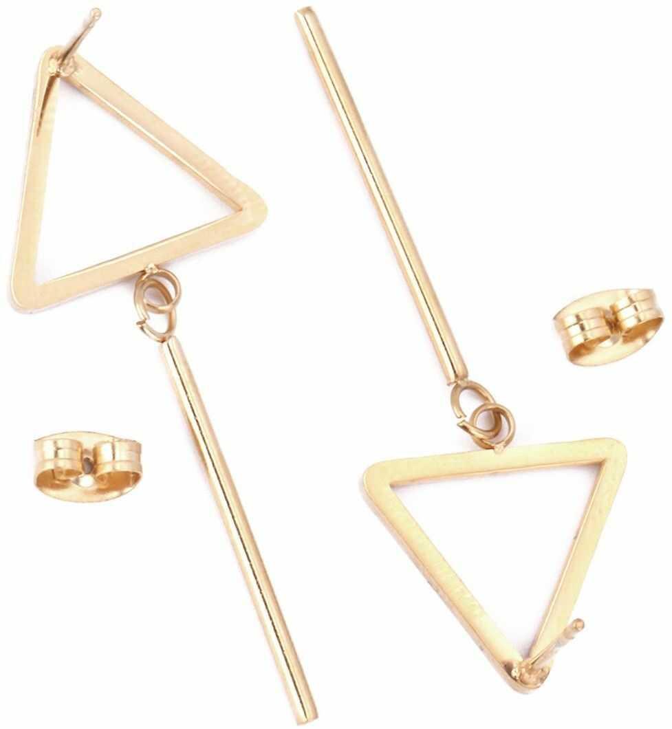 Kolczyki wiszące stal szlachetna złote trójkąty