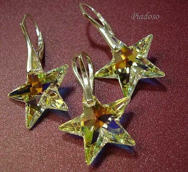 SWAROVSKI gwiazdy piękny komplet SREBRO AB