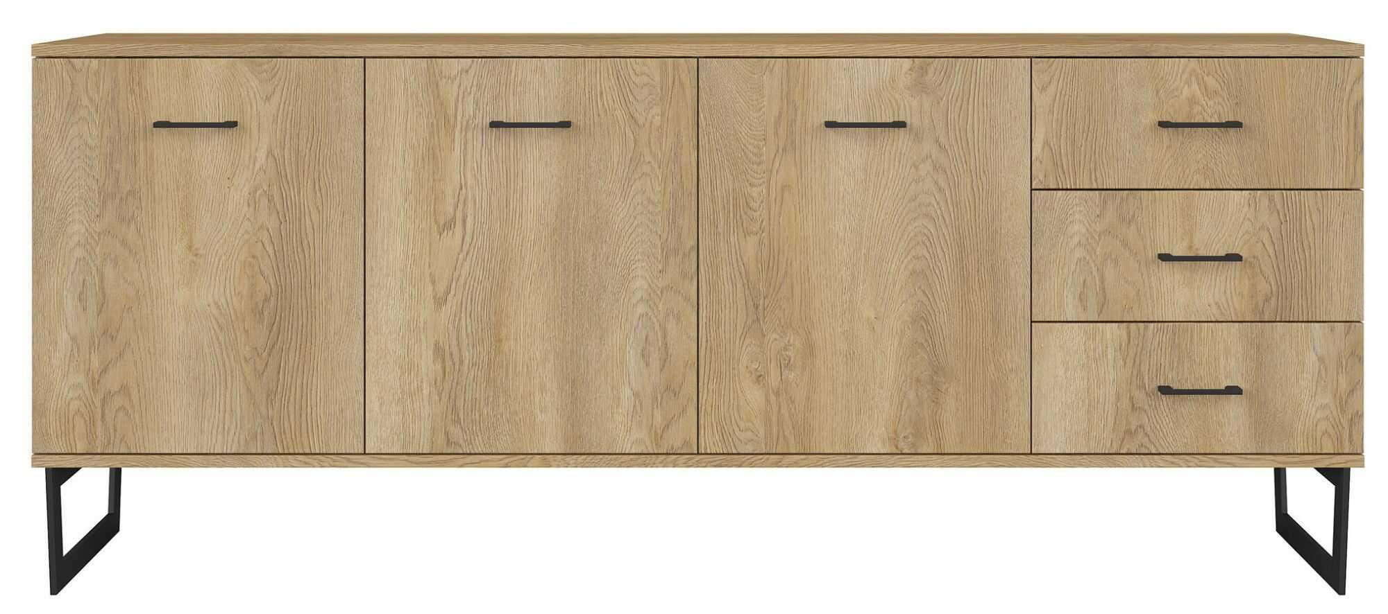 Industrialna komoda z drewna dębowego - Bahama 5X