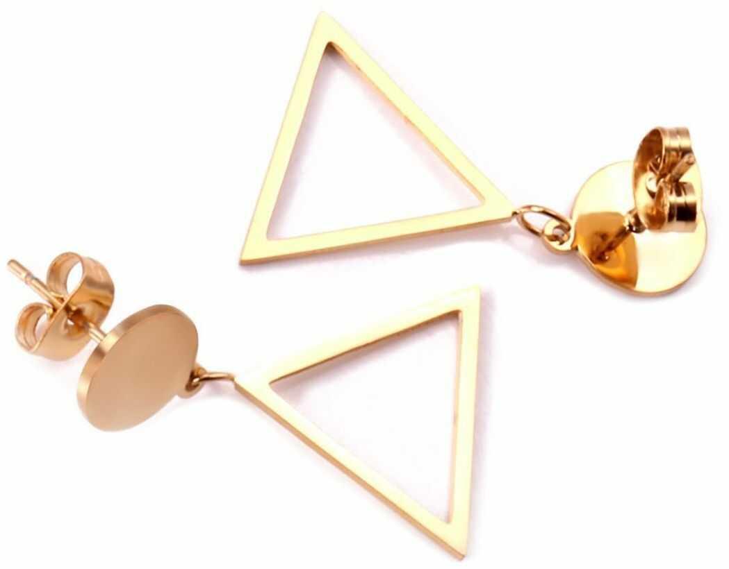 Kolczyki geometryczne stal szlachetna złote