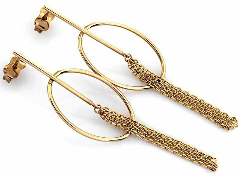 Złote wiszące kolczyki 333 koła łańcuszki 1,57 g