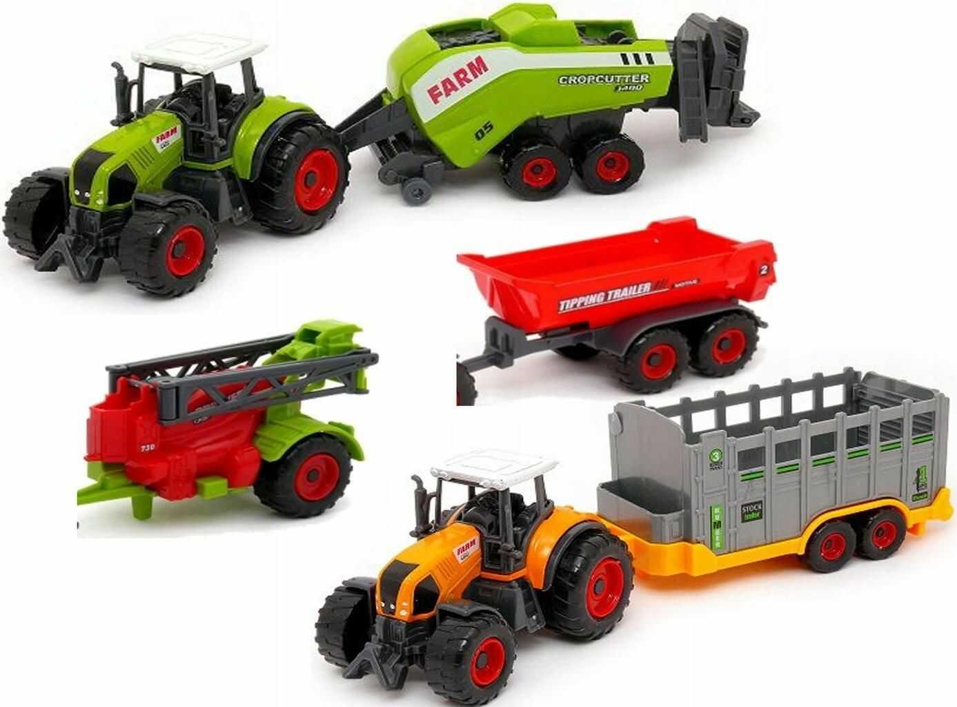 Zestaw Farma: 2 Traktory / Ciągniki + 4 Maszyny Rolnicze.