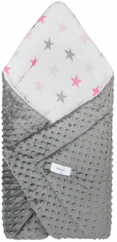 Rożek niemowlęcy minky białe gwiazdy