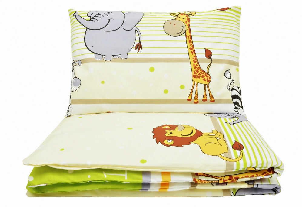 Zielona pościel w zebry i żyrafy dla chłopca