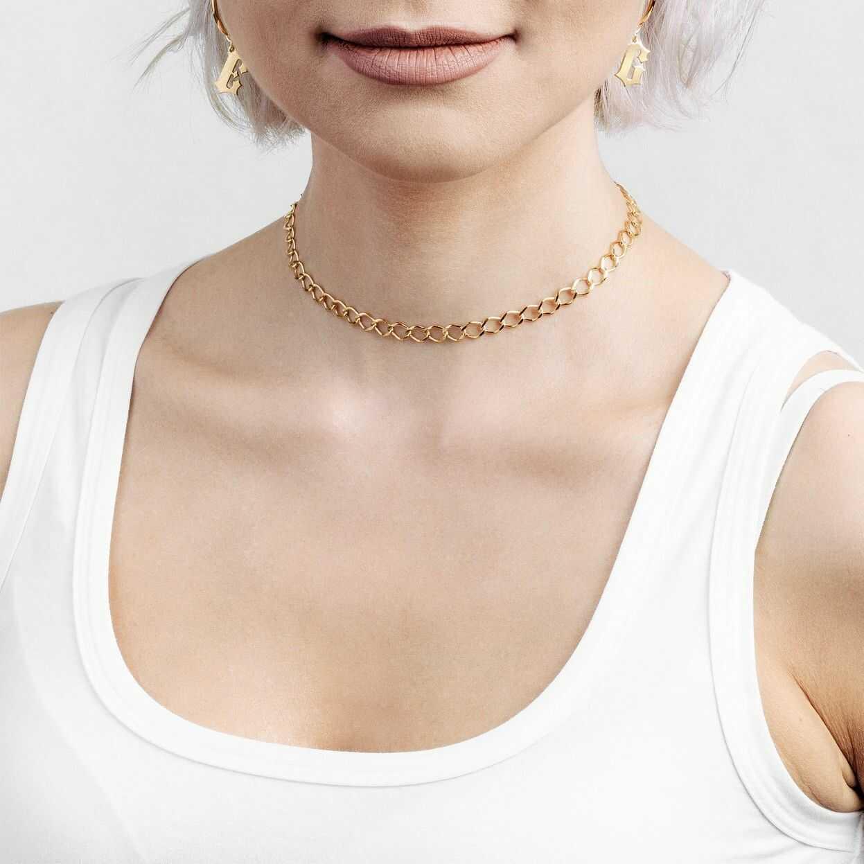 Srebrny łańcuszek choker rombo, srebro 925 : Długość (cm) - 35 + 5, Srebro - kolor pokrycia - Pokrycie żółtym 18K złotem
